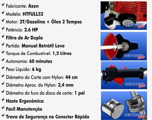 roçadeira a gasolina multifuncional 52 cc completa!