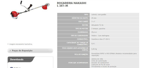 rocadeira gasolina nakashi 25,6 cc completa, 2 tempo