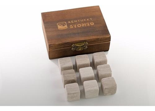 rocas para enfriar bebidas set de 9! incluye caja de madera.