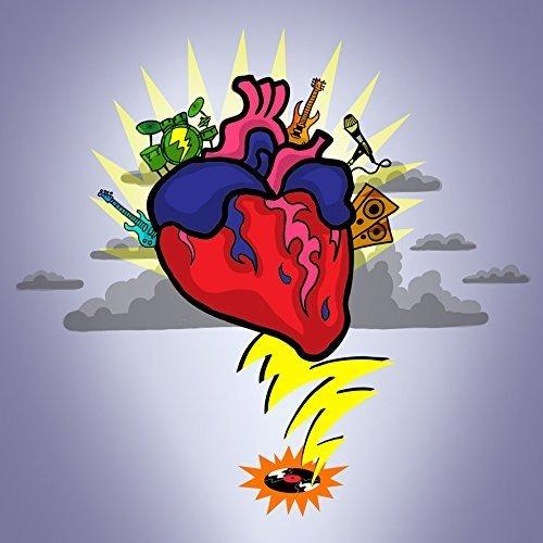 Rock N Roll Corazón Wguitarra Y Tambores Dibujos Animados Di