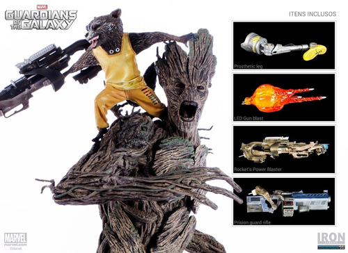 rocket & groot - 1/6 diorama - iron studios (luz de led)