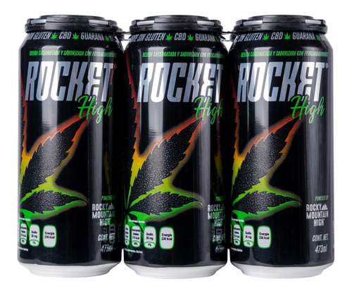 rocket high bebida energizante cb life six pack lata 473 ml