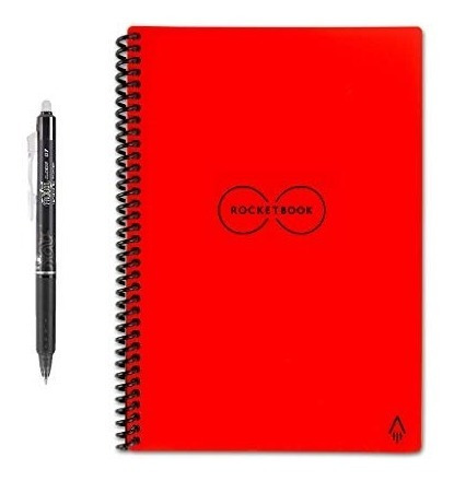 rocketbook - cuaderno de espiral reutilizable borrable, roj