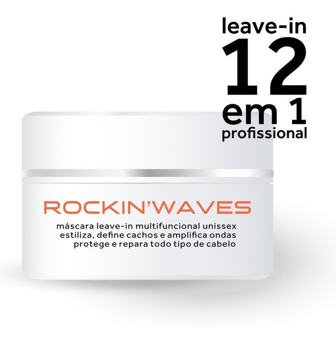 rockinwaves leave-in, máscara e pomada modeladora, pote 200g