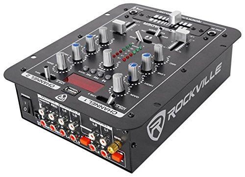 rockville rdj2 2 canales mezclador de dj con usb