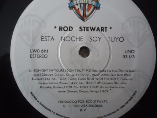 rod stewart / tonight i'm yours vinyl lp acetato
