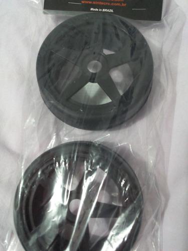 roda c/ pneu slick sintec st preto -17mm- escala 1/8
