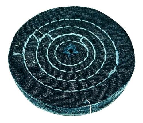 roda de pano disco de tecido jeans para polimento 10 cm
