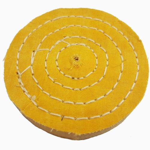 roda de pano para polir e lustrar cor amarela diametro 4