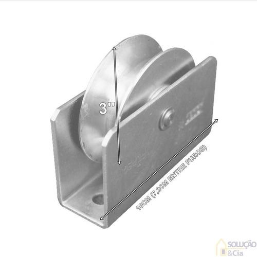roda para portão de ferro caixa de 3`` - p/ trilho v - 4 pçs