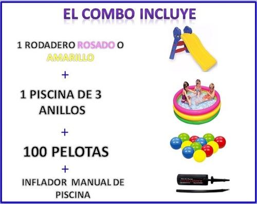 rodadero + piscina con pelotas + inflador super combo
