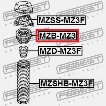 rodamiento base amortiguador delantero mazda 3 2003 - 2009