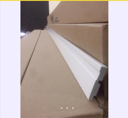 rodapé poliestireno 7cm poliest vara 2,4m(branco ou preto)
