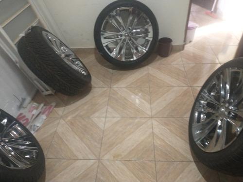 rodas cromadas 6 furos aro 22.com 3 pneus zeros
