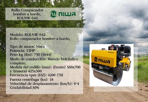 rodillo compactador de hombre abordo rolnw-642 niwa