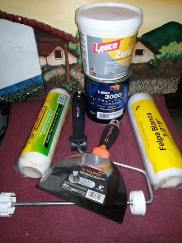 rodillo, pintura, pasta, felpas, brocha y espátula.
