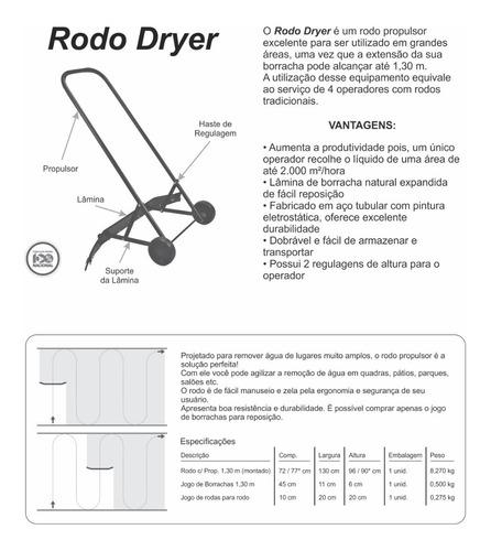 rodo grande áreas profissional c/ roda propulsor 1,30m 2pçs