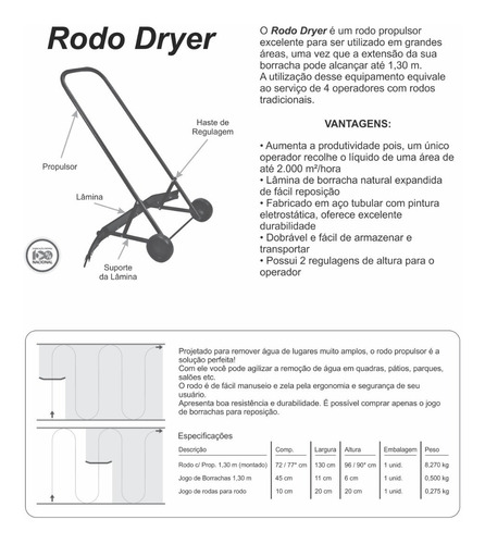 rodo grande áreas profissional c/ roda propulsor 1,30m