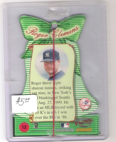 roger clemens  2000 pacific christmas ornaments 12