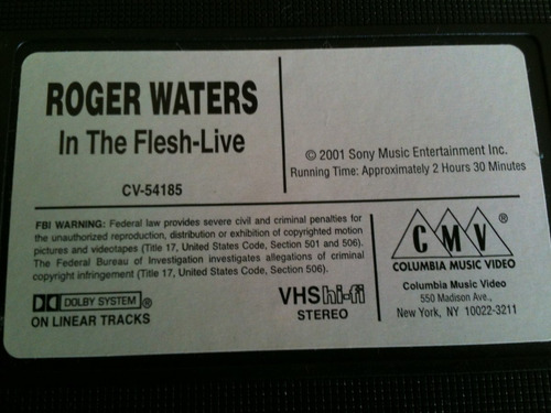roger waters.- in the flesh.- vhs importado usa 2000