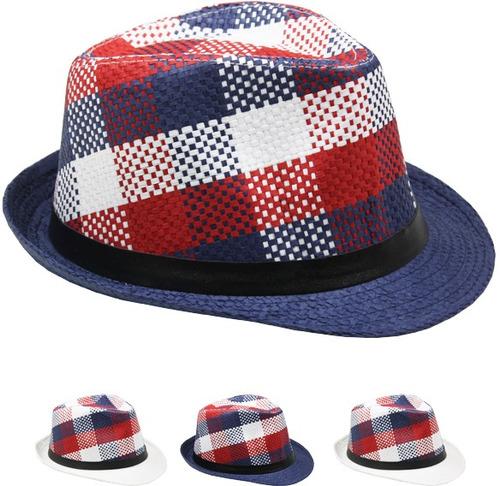 rojo , blanco y azul tartán fedora sombrero caso paquete 72