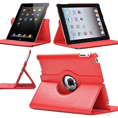 rojo de 360 ¿¿grados girando caso de cuero soporte para ipad