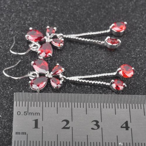 rojo granate topacio blanco joyas para mujeres joyería de pl