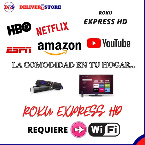 roku express hd tv iptv streaming netflix modelo 3930rw