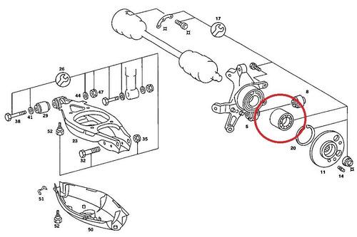 rolamento roda traseira mercedes clk320 1997-2002 original