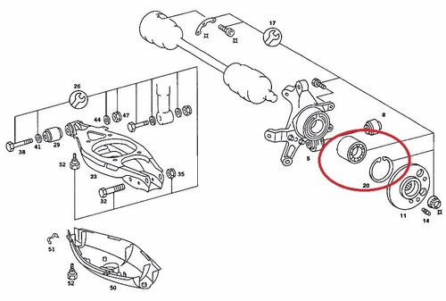 rolamento roda traseira mercedes e320 1996-1998 original