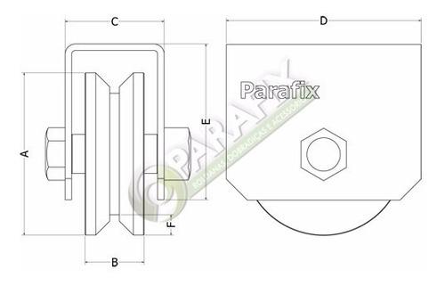 roldana canal v 63 mm 2.1/2 com suporte fechado com parafuso