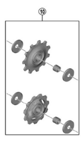 roldana câmbio traseiro shimano 105 r7000 ss / gs 11v 2 und