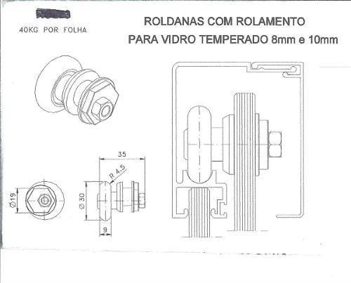 roldana excêntrica p/ janela porta vidro 8 e 10mm - 4 unid