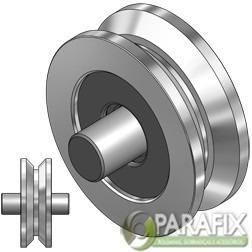 roldana para portão canal v com rolamento  pino 100 mm 4 pol