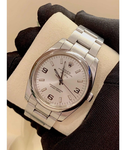 rolex air king silver dial , modelo novo , todo aço !
