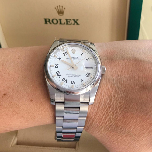 rolex date 34mm white dial 2019 completo