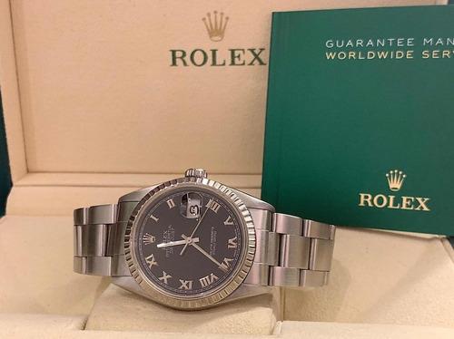 rolex datejust 36mm , fluted bezel , black dial e impecável