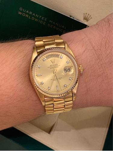rolex day date president todo de ouro com diamantes !
