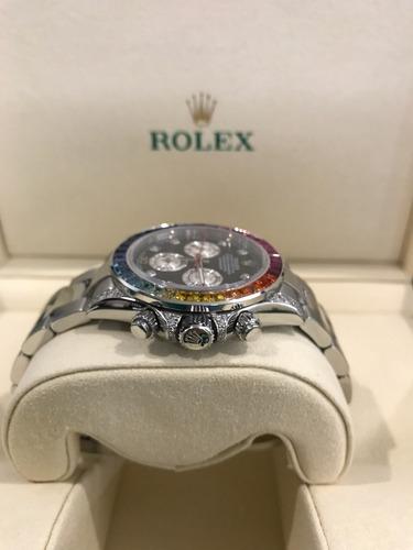 rolex daytona rainbow acero con diamantes  piedras agregadas