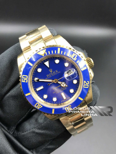rolex dourado submariner azul 40mm automático safira