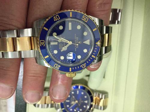 rolex submariner aco e ouro dial azul , cerâmica