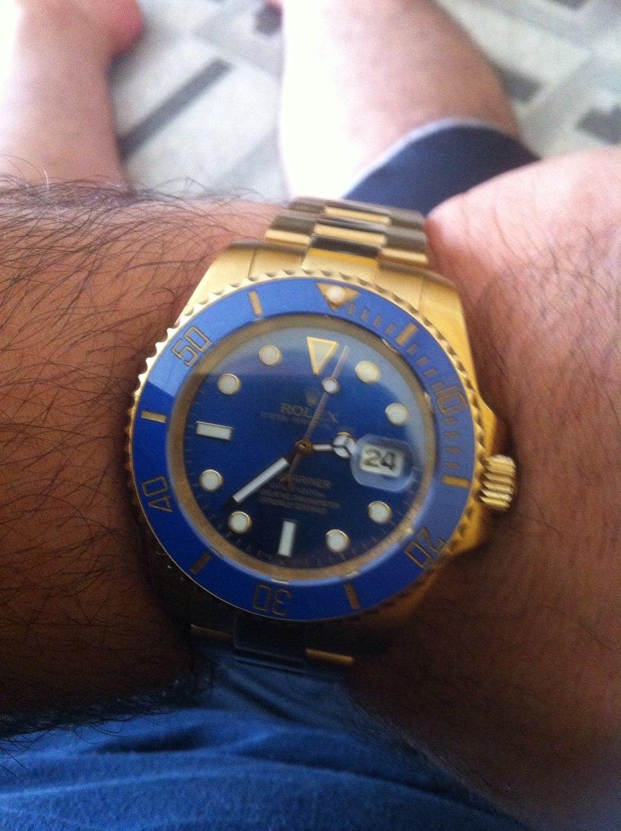 adbb435668b rolex submariner dourado com azul. Carregando zoom.