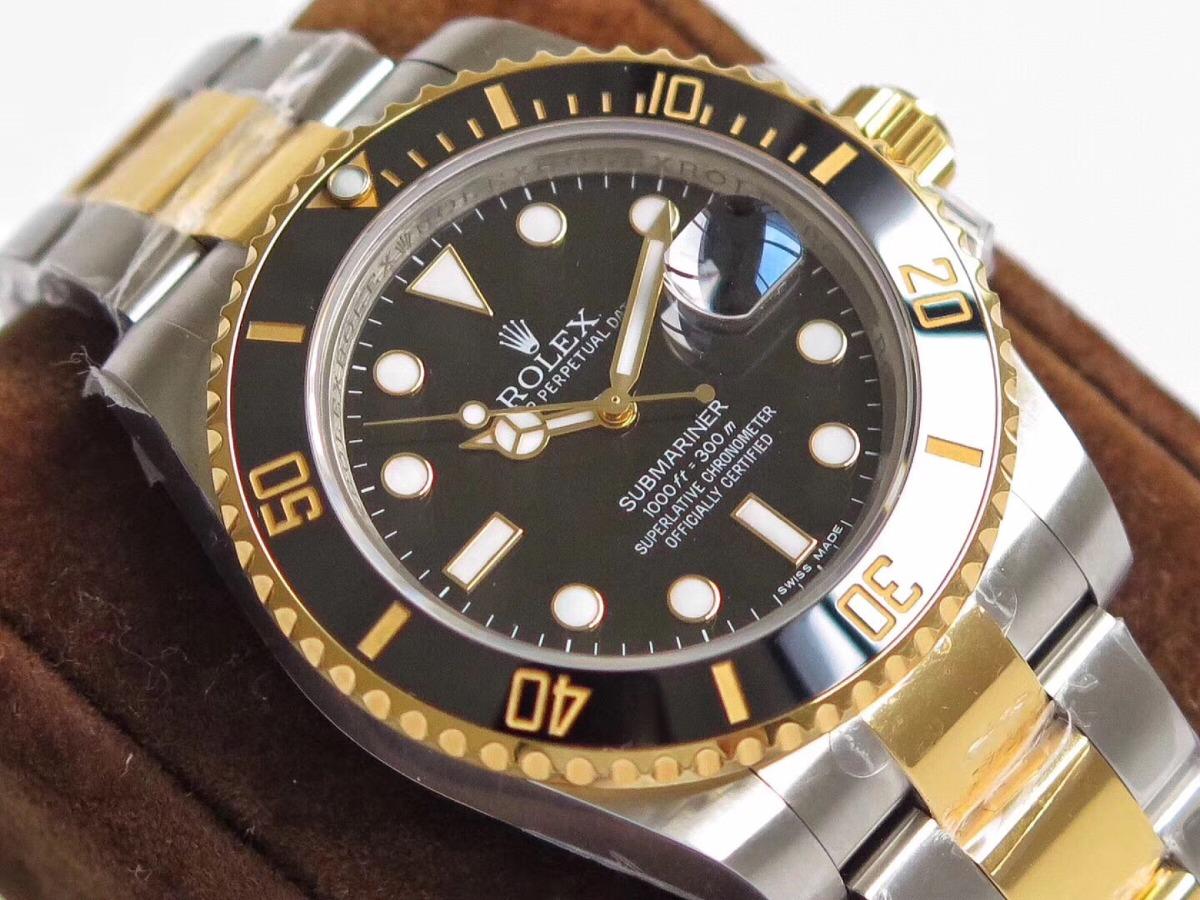 9e37a61d3d6 rolex submariner misto com ouro 18k eta2836. Carregando zoom.