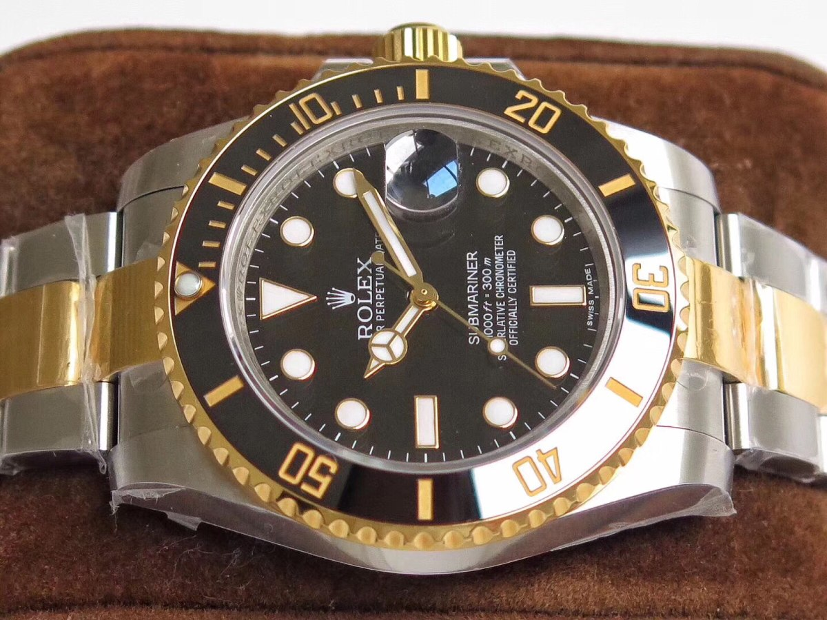 da1014f336f rolex submariner misto com ouro 18k eta2836. Carregando zoom.