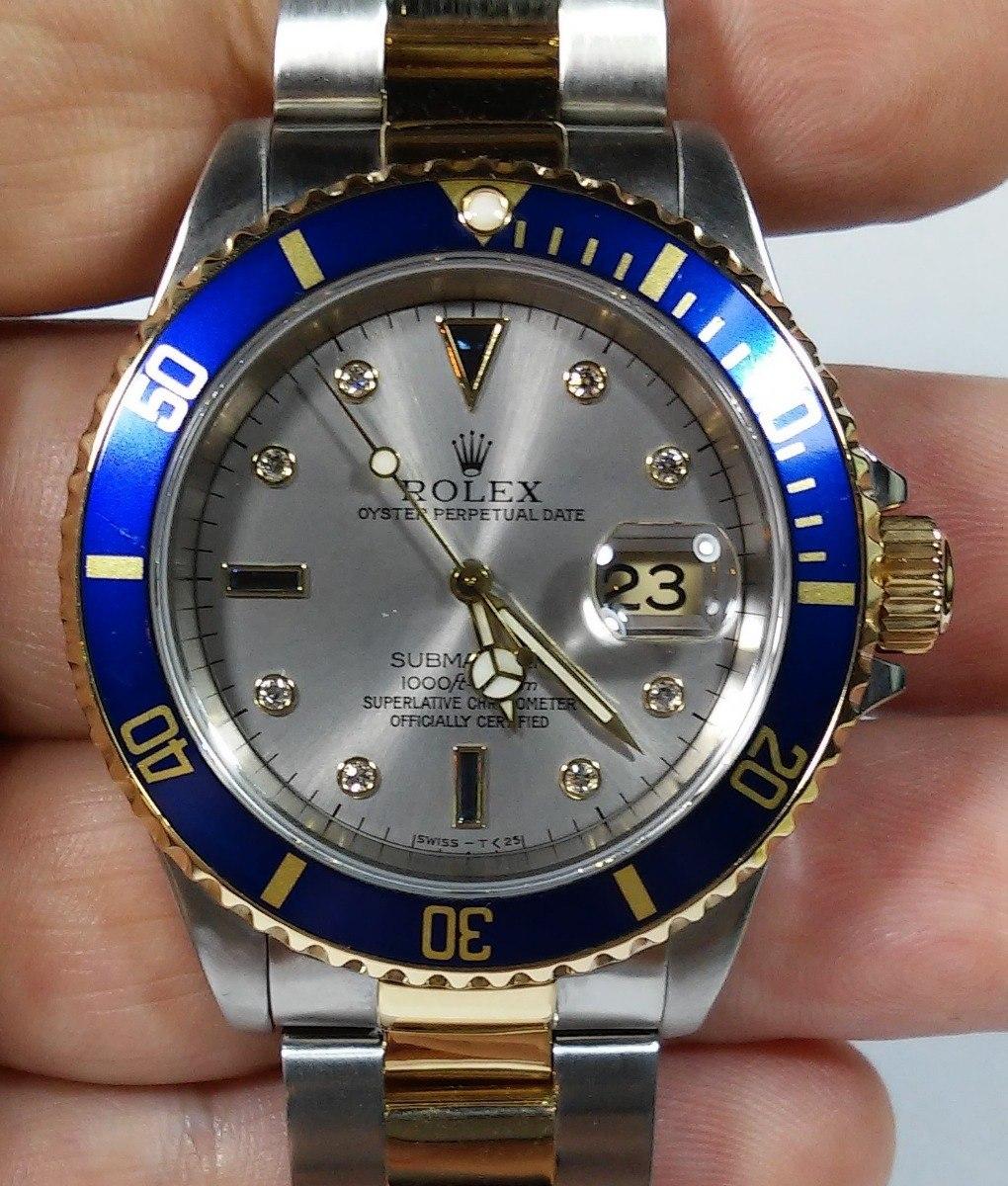 8b9d92e9a92 Rolex Submariner Sultan Aço Ouro Diamantes Safiras Completo
