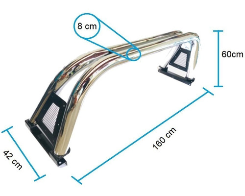 roll bar barra antivuelco cromo nissan frontier hilux ranger