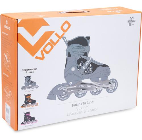 roller in line c/4 rodas e freio- tamanho p(28-32)