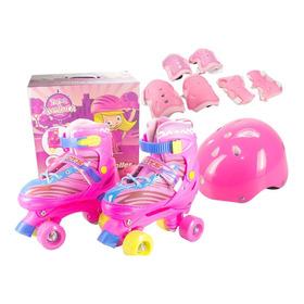 Roller Patins Infantil Rosa + Kit Proteção - Aventura