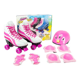 Roller Patins Infantil Rosa 4 Rodas + Kit Proteção