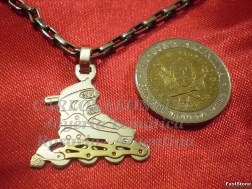 rollers - dije en plata 925 y oro 18k